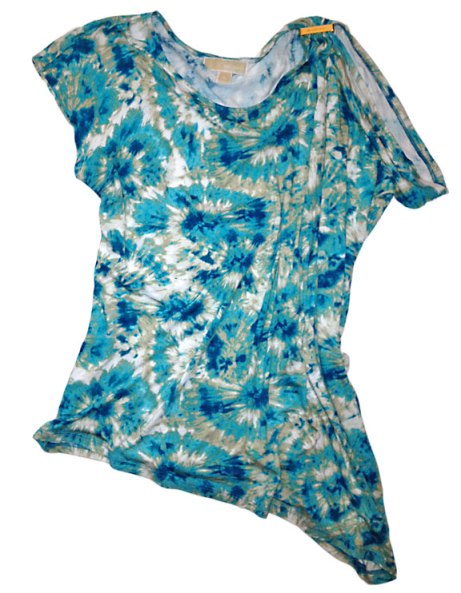 Asymmetrical print jersey top