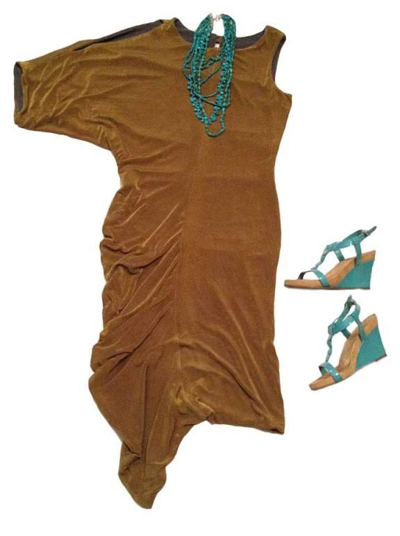 Bronze/pewter jersey asymmetrically-draped dress