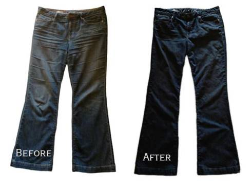 Jeans before and after dyeing