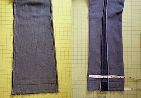Before & after sewing seams
