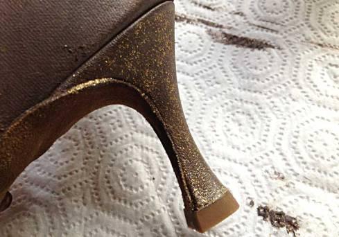 Heel with extra glittery coat