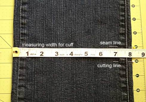 Marking and cutting the jeans