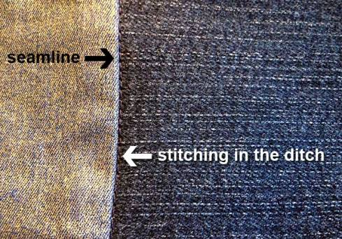 After stitching in the ditch