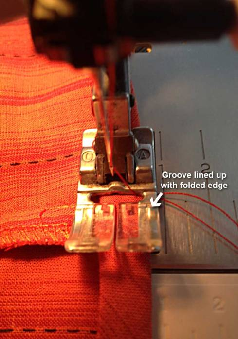 Sewing folded edge