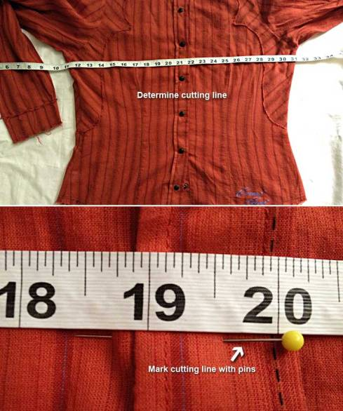 Shirt with tape and pin