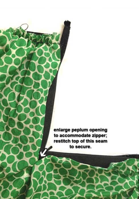 Peplum zipper opening