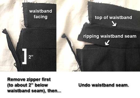 Removing the waistband