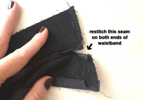 Restitch waistband seams