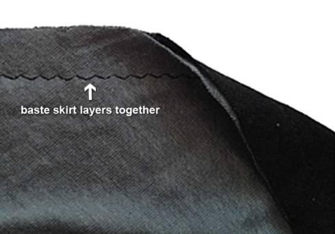 Basting skirts together