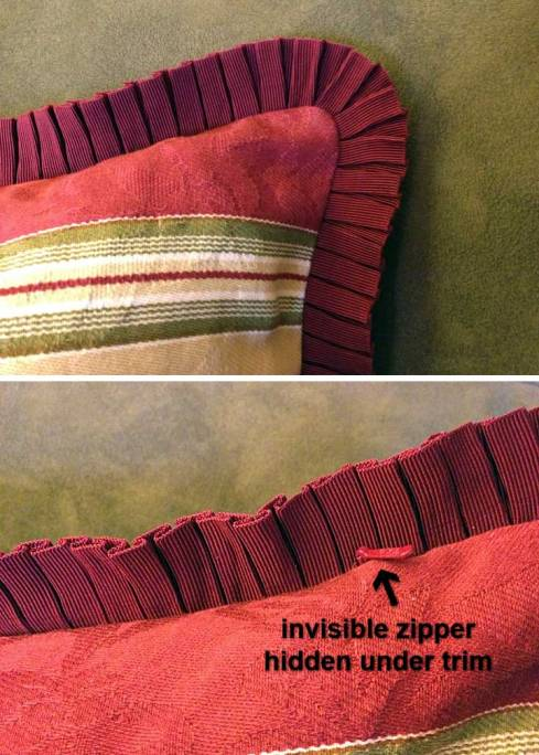 Striped pillow details