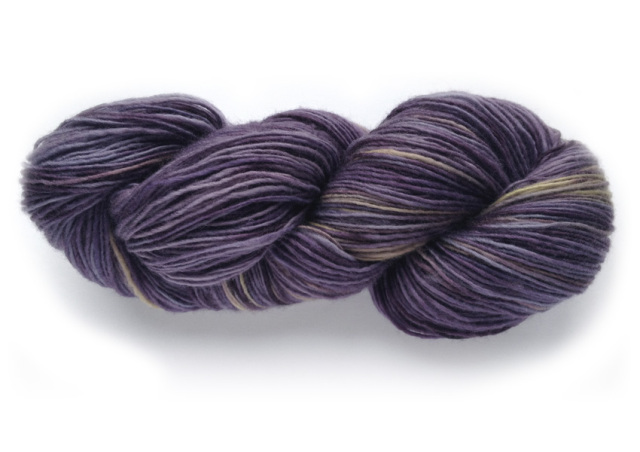 Amethyst in Softy (80% merino wool/20% cashmere). Click the photo to see this yarn in my Etsy shop.