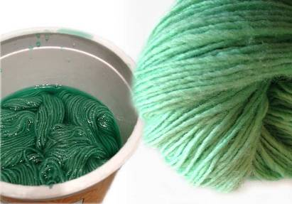 Mint yarn before overdyeing
